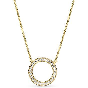 "Pandora Jewelry Circle of Sparkle Cubic Zirconia Necklace in Pandora Shine, 17.7"""