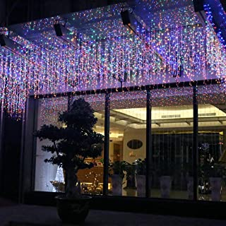 FTON LED Icicle Lights, 16.5ft 216 LED Fairy String Lights Plug in Extendable Curtain Christmas String Lights 8 Modes Decorative Rope String Xmas Wave Twinkle Light (5M 216LED, Multi Color)
