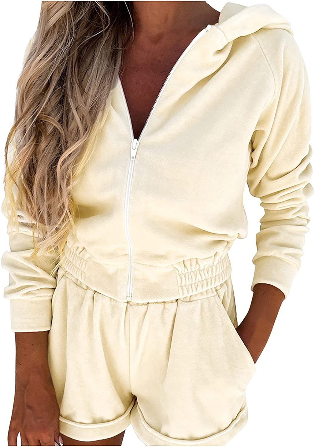 Women Suits Sets, Women's Fashion Sports and Leisure Hooded Sweater Set Two Piece Set