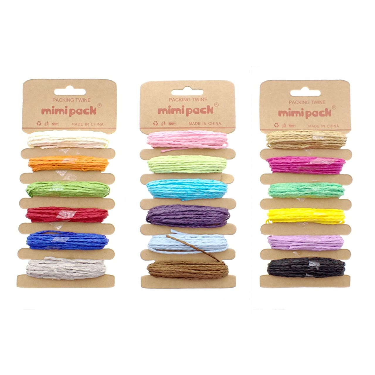 Mimi Pack Bright Paper Raffia Ribbon Twine Strong Solid Assorted Colors for DIY Crafts, Gift Wrapping, Gardening, Scrapbooking, and Decoration (Multicolor 3 Pack)