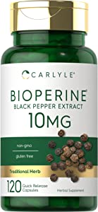 Carlyle Bioperine 10mg 120 Capsules, Non-GMO, Gluten Free   Sourced from Black Pepper Extract   Supports Curcumin Powder Absorption