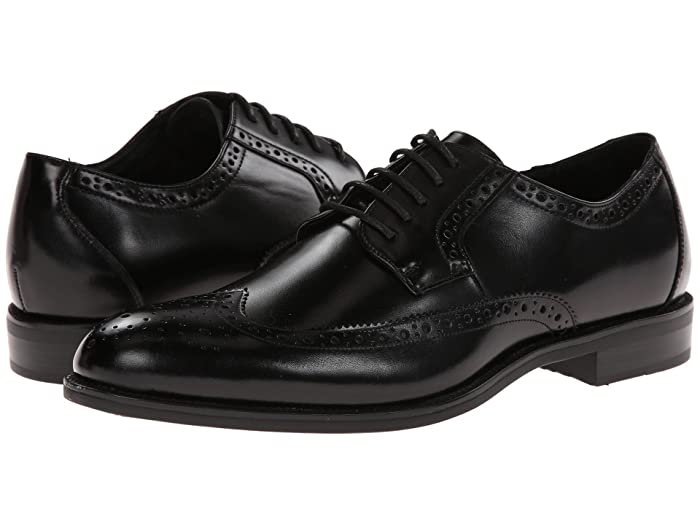 Men's 1950s Shoes Styles- Classics to Saddles to Rockabilly Stacy Adams Garrison Wingtip Oxford Black Leather Mens Lace Up Wing Tip Shoes $53.99 AT vintagedancer.com
