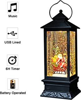 Eldnacele Singing Battery Operated & Plug-in Musical Lighted Christmas Snow Spinning Water Glittering Snow Globe Lantern Home Decoration and Gift, Santa Claus