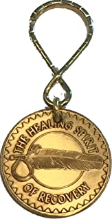 Healing Spirit Of Recovery Native American Sobriety Keychain Bronze Key Tag