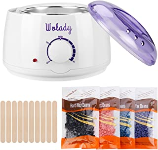 Waxing Machine Hair Removal Kit, Wolady Professional Painless Home Wax Warmer with 4 Scents Hard Wax Bean, 10 Wax Sticks for Face, Legs, Arms, Bikini Area for Men, Women (2)