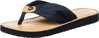 Leather Footbed Beach Sandal, Sandalias con Tira Vertical para Mujer