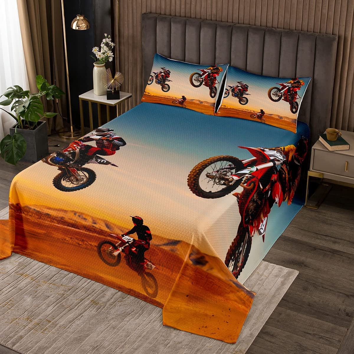 Feelyou Boys Motocross Rider Quilted Kids Coverlet Ex unisex Adults Bombing free shipping for