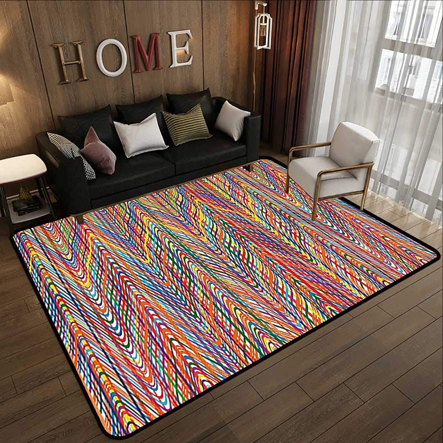 Carpet mat,Abstract,colorful Zigzag Pattern with Mixed Contrast Messy Tone Lines Modern Stripes Image,Multicolor 47 x 59  Floor Mat Entrance Doormat