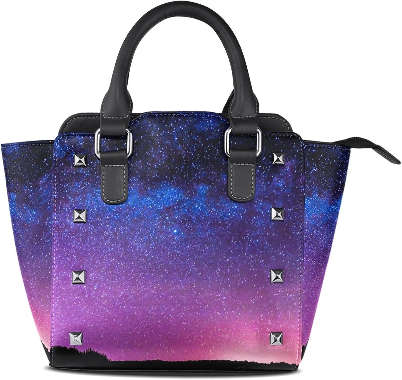 My Little Nest Women's Top Handle Satchel Handbag Night Sky Scenery Ladies PU Leather Shoulder Bag Crossbody Bag