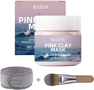 Pink Clay Face Mask, LHAAAYF 100% Natural Kaolin Clay Mask With Brush & Headband, Clay Deep Skin Pore Cleansing,Hydrating,...