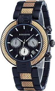 BOBO BIRD Men's Wood Watches 42mm Fashion Multifunction Chronograph Analog Quartz Watch Stainless Steel Metal Handmade Wri...