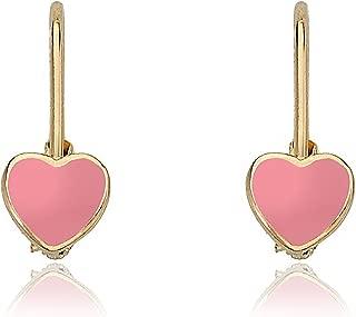 Kids Earrings - 14k Gold Plated Enamel Heart Leverback Earrings - Hypoallergenic and Nickel Free For Sensitive Ears