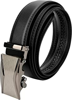 Brynnl Cintura da uomo, cinture in pelle da uomo Cintura automatica nera da 3,5 cm * 130 cm Cintura da uomo in pelle con c...