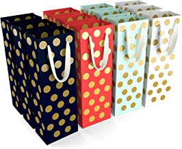 12 Wine Gift Bags - 4 Colors Polka Dots Wine Gift Bags Bulk for Holiday.