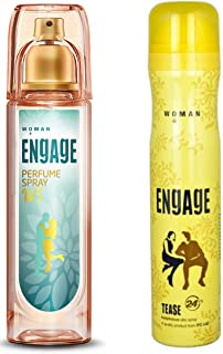 Engage W3 Perfume Spray For Women, 120ml and Engage Woman Deodorant, Tease, 165ml / 110g (Weight May Vary)