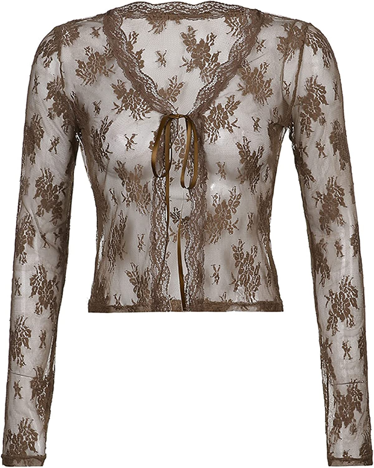 Sexy Sheer Floral Lace Shrug for Women, Casual Long Sleeve Tie Up Cropped Cardigan Brown