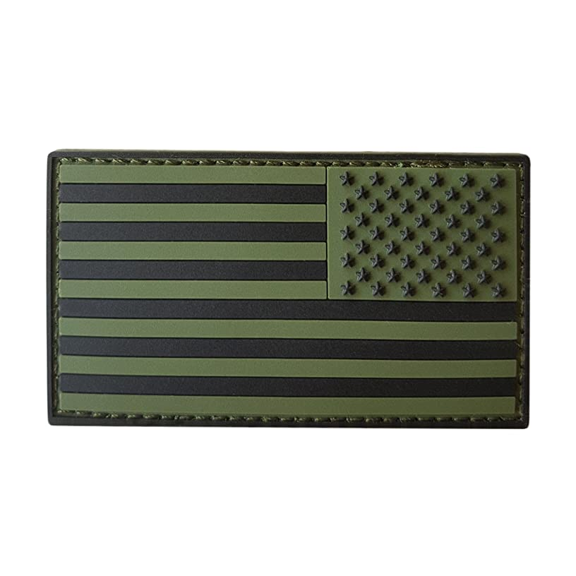 LEGEEON Olive Drab OD Multicam USA American Reversed Flag ISAF Morale PVC Rubber Touch Fastener Patch