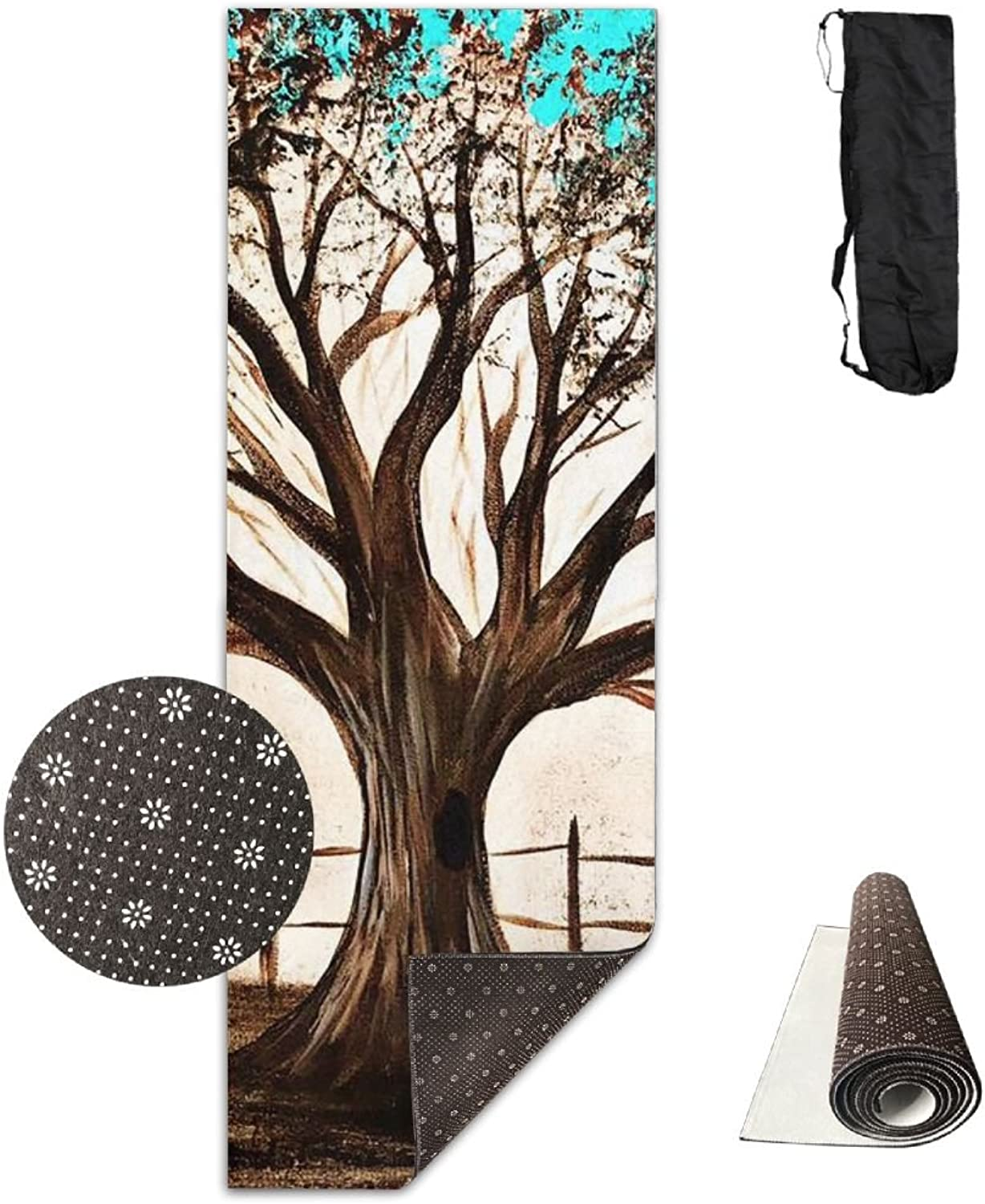Yoga Mat Non Slip 24  X 71  Exercise Mats Big Tree Painting Premium Fitness Pilates Carrying Strap