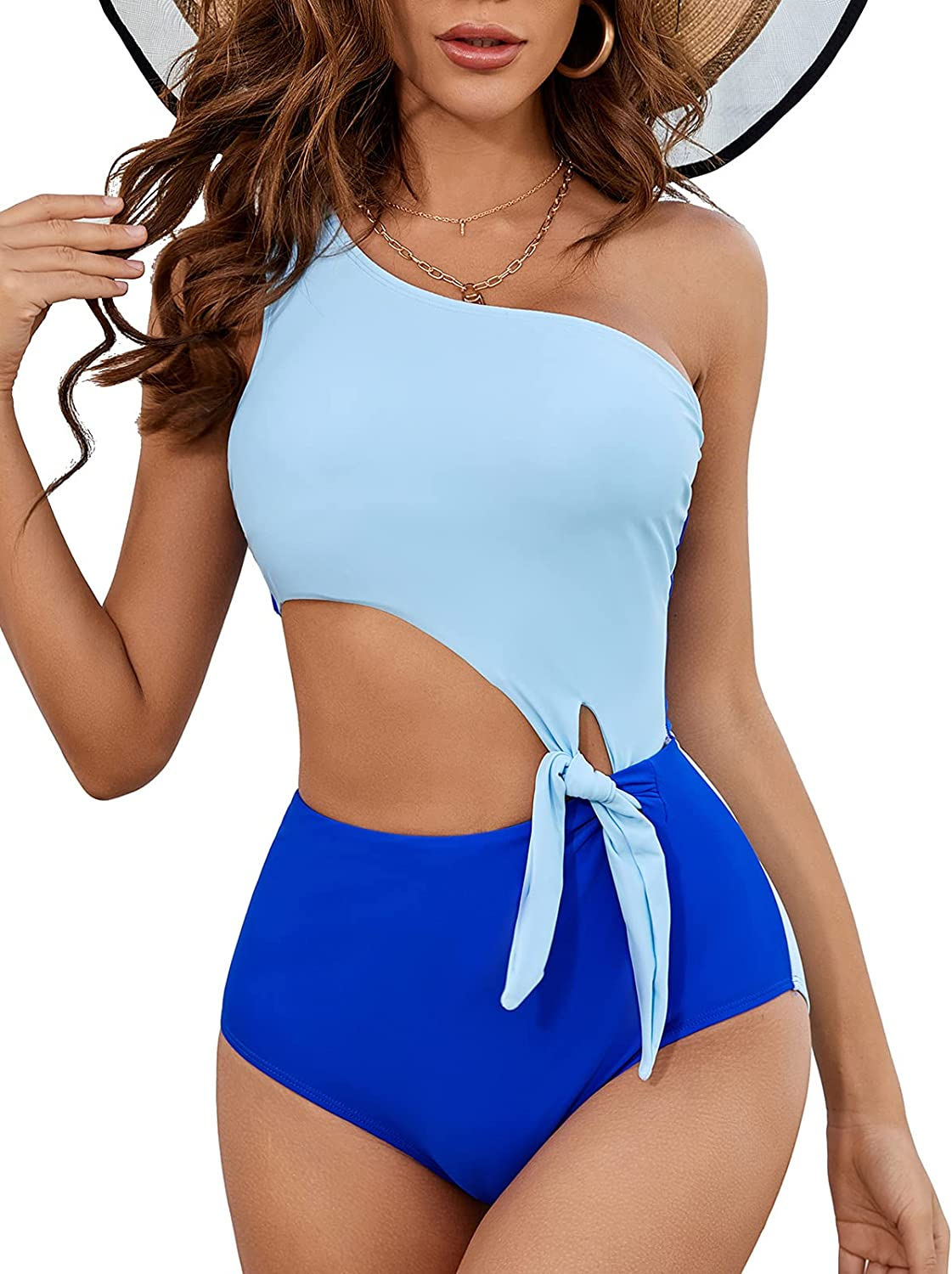 MOLYBELL Women's One Shoulder Cutout Monokini Swimsuits, Padded Bowknot Bathing Suit