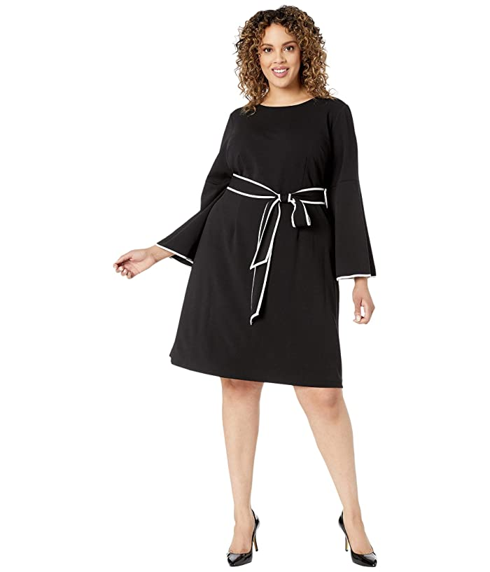 Adrianna Papell  Plus Size Knit Crepe A-Line Dress with Contrast Trim Detail (Black/Ivory) Womens Dress