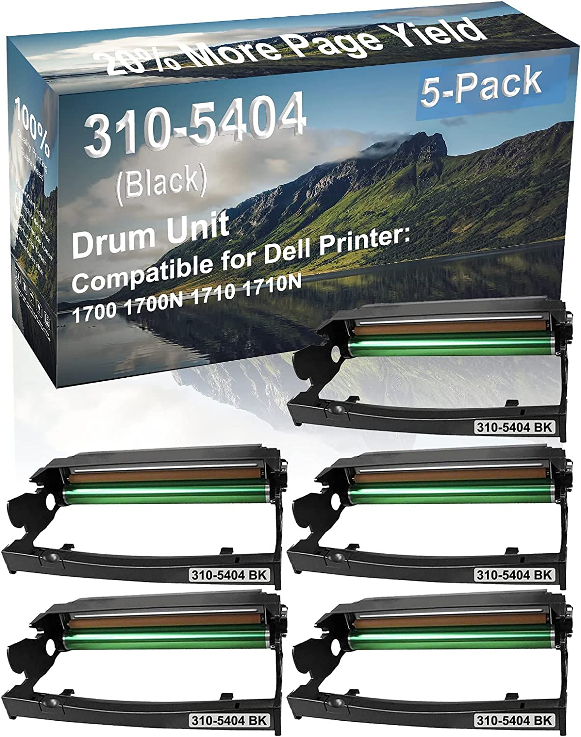 5-Pack Compatible Drum Unit (Black) Replacement for Dell 310-5404 Drum Kit use for Dell 1700 1700N 1710 1710N Printer