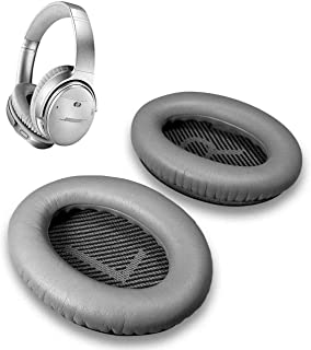 Cushions Bose Replacement Ear Pads Kit- Ear Cups for QuietComfort 2 15 25 35 QC2 QC15 QC25 QC35, AE2,AE2i, AE2w, SoundTrue, SoundLink(Around-Ear) Headphones (Silver)