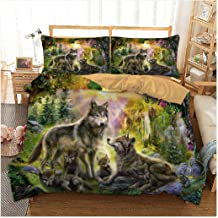 3pcs 3D Bedding Set Animal Full Queen Duvet Cover Set Bed Sheet Wolf Printed Twin King Quilt Cover Bed Linens with Pillowc...