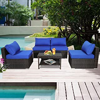 Outdoor Rattan Couch 5pcs Brown Wicker Sectional Conversation Sofa Set Lawn Garden Patio Furniture Set with Royal Blue Jetime