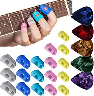 35pcs Guitar Silicone Finger Protector,Color Fingertip Protection Covers Caps in 5 Sizes for Beginner Playing Ukulele Elec...