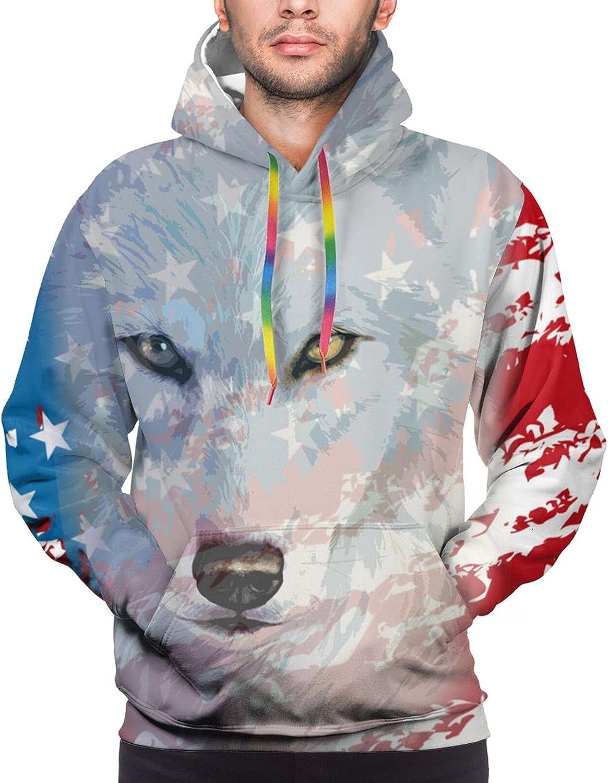 Hoodie For Mens Womens Teens America Flag With Wolf Hoodies Pullover Sweatshirt Pockets