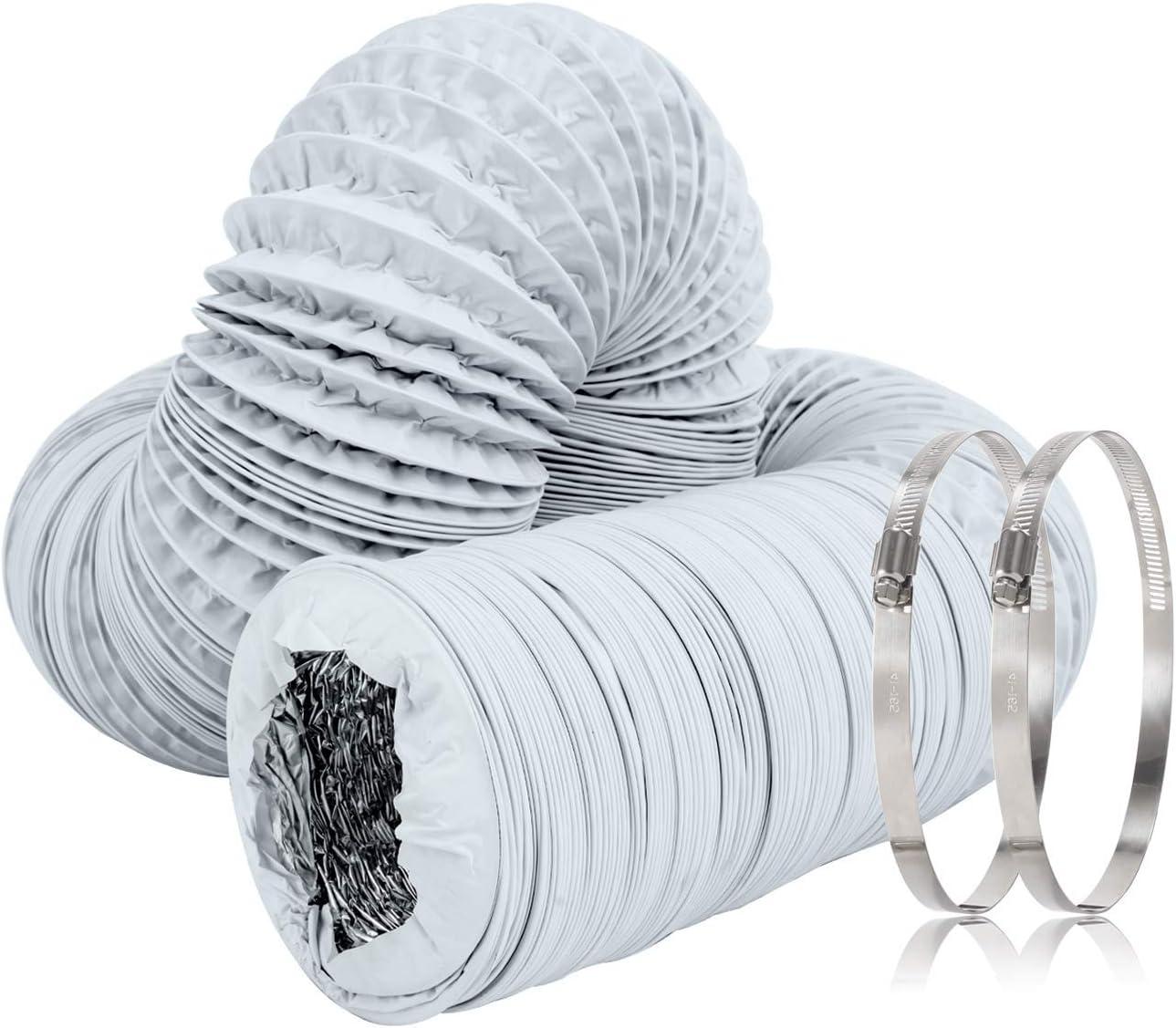 Hon&Guan Tubo de Manguera de Ventilación Tubo Aire Flexible di Aluminio PVC para Extractor de Aire, Climatización, Secadora(ø200mm*5m, Blanco)