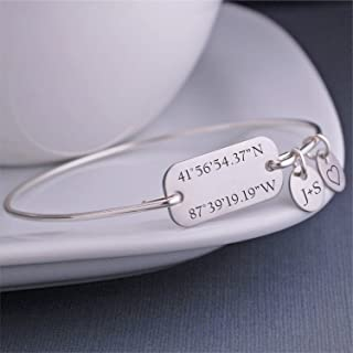 Latitude Longitude Bangle Bracelet, Personalized Location Jewelry, Anniversary Gift for Wife