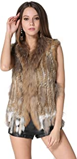 Rabbit Fur Vests with Raccoon Fur Collar Real Fur Knitted Women Waistcoat