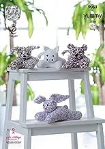 King Cole Yummy Knitting Pattern Laying Toys - Dog Cat Tiger Cub or Rabbit (9061)