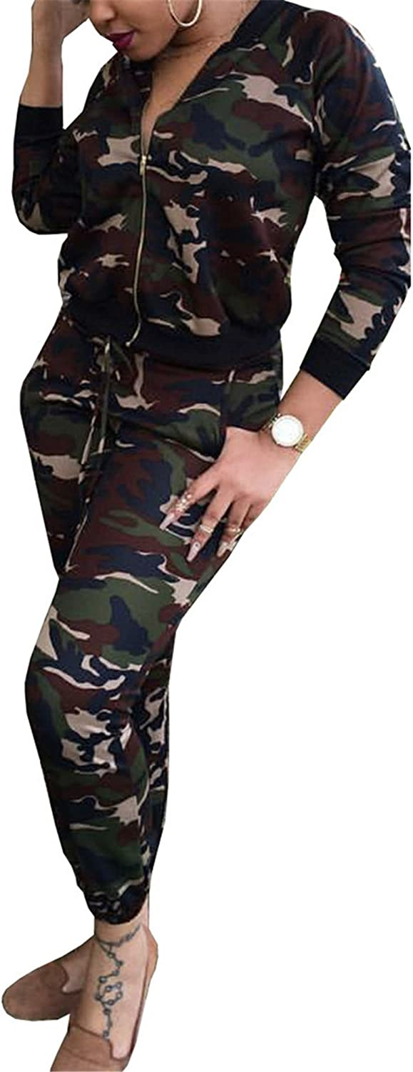 Allonly Women Long Sleeve Camouflage Jacket Pants Two Pieces Suits Slim