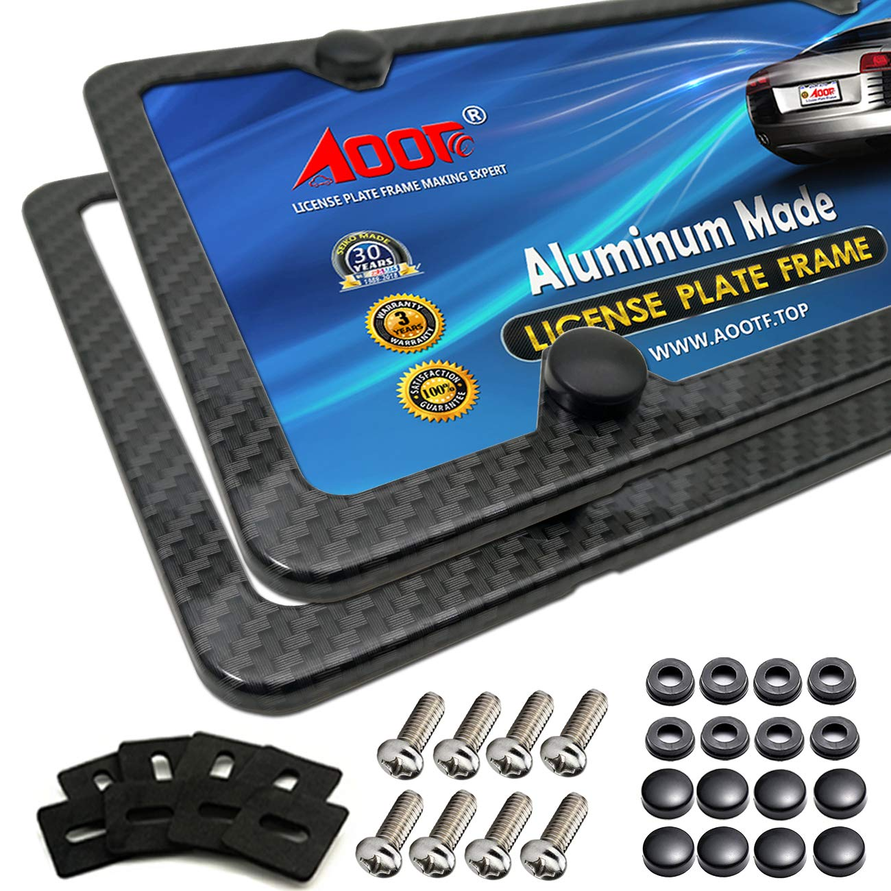 Aootf License Plate Screw Caps Carbon Fiber Pattern for Matching Carbon Fiber License Plate Frame and Gift Plate Frame Screws 24 Kit