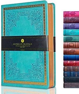 """VICTORIA'S JOURNALS Leatherette Vintage Journal جلد سخت جلد نوت بوک دفتر خاطرات سفر قدیمی ، 5.7 """"x 8.1"""" (Teal (Full Gilt Edge))"""