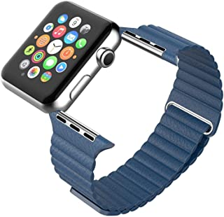 Magnetic Leather Wrist Loop Strap for Apple Watch 42mm - Midnight Blue