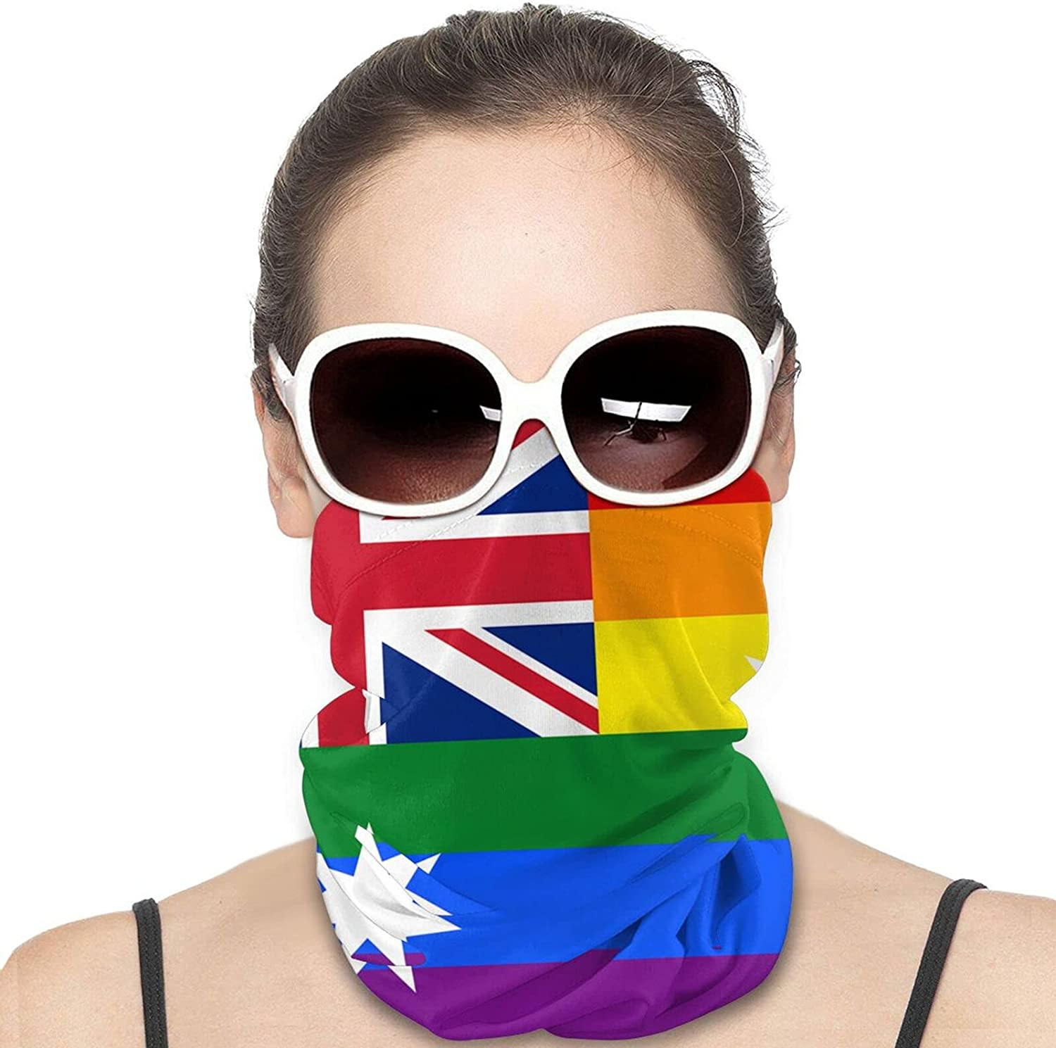 Australia gay Pride by prided Round Neck Gaiter Bandnas Face Cover Uv Protection Prevent bask in Ice Scarf Headbands Perfect for Motorcycle Cycling Running Festival Raves Outdoors