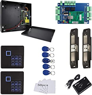 TCP/IP Network 2 Doors Smart Access Control Panel System with Electric Strike Lock for Push Panic Bar Device Emergency Doo...