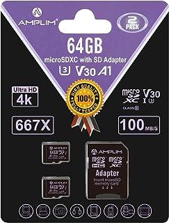 2X Amplim 32GB MicroSDXC Card with Adapter black 2X64 Black
