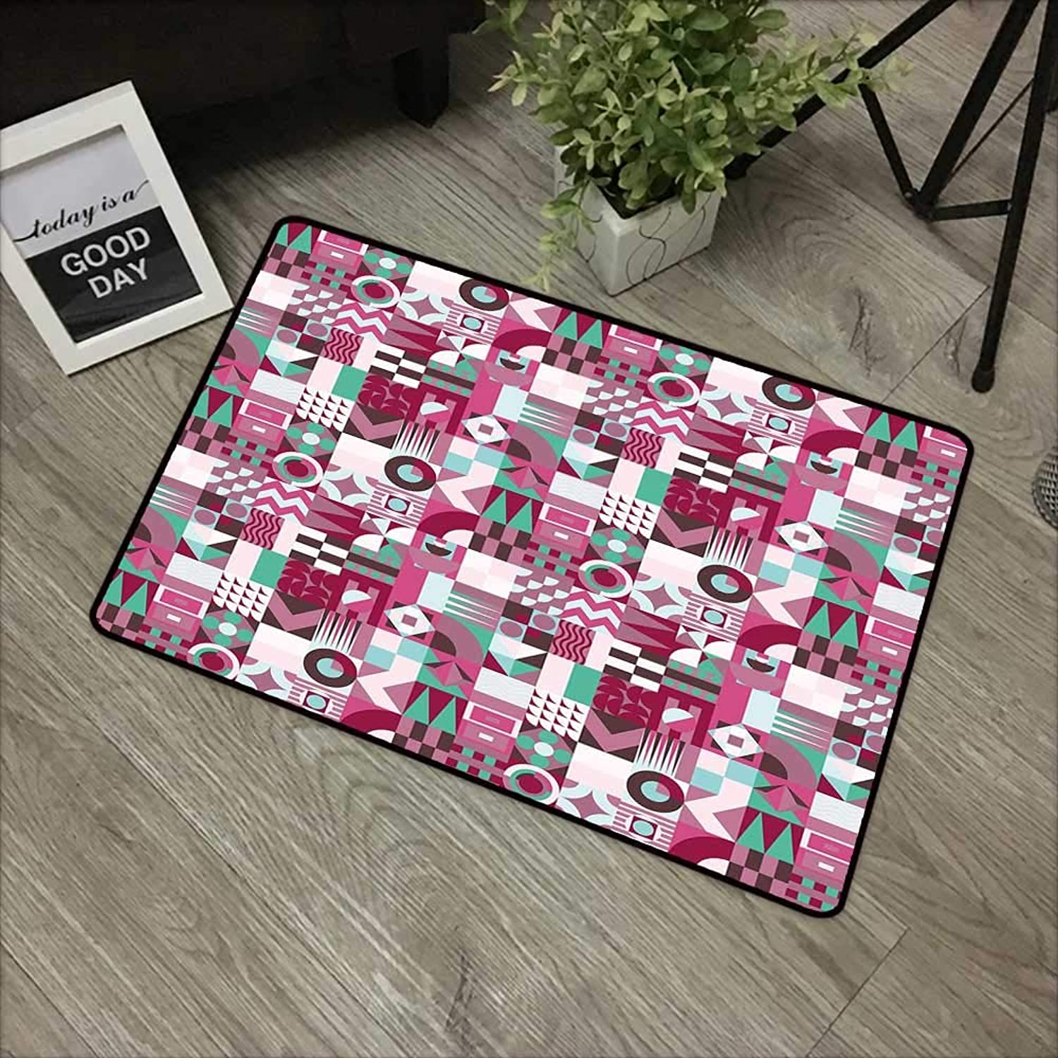 Learning pad W35 x L59 INCH Mid Century,Rich Collection of Motifs from Fifties Groovy Unusual Forms Checkered Design,Multicolor Non-Slip, with Non-Slip Backing,Non-Slip Door Mat Carpet