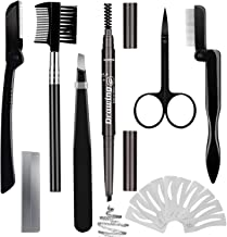 Eyebrow Razor Eyebrow Kit 17PCS with Eyebrow Pencil, Scissor, Eyebrow Brush, Eyebrow Stencil, Tweezers and Eyelash Comb for Women and Men, Maiden and Teenage Girls Grooming Kit(Black Eyebrow Pencil)