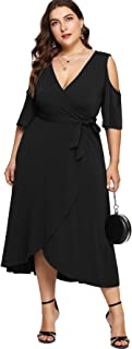 Milumia Plus Size Cold Shoulder Wrap V Neck Empire Waist High Low Summer Short Sleeves Party Midi Dress