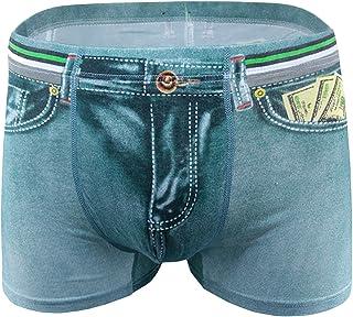 D DOLITY Classic Men Cotton Spandex Shorts Fake Jean Briefs Sexy Underwear