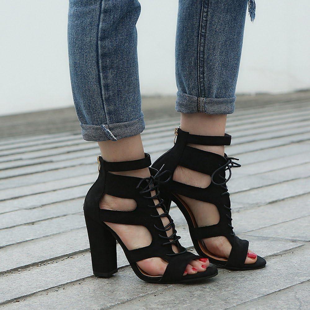Women Sandals Dress Pumps Fashion Scrub Hollow Out Cross Tied Rome Shoes Super Heel Shoes Memela