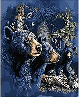Diamond Painting Kits for Adults, DIY 5D Round Full Drill Art Perfect for Relaxation and Home Wall Decor The Black Bear 11.8x15.7in 1 Pack by SinyaBRA