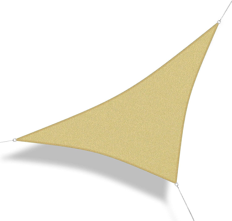 Corasol 160216 Premium Sonnensegel, 6,5 x 6,5 x 9,2 m, 90° Grad Dreieck, Wind- & wasserdurchlssig, sandbeige