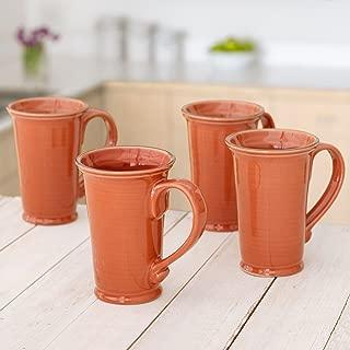 Member's Mark 4-Pack Hand-Glazed 18 oz Stoneware Tuscan Mugs, Persimon