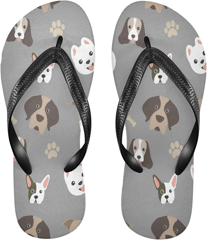 Nander Cute Dogs Women's Sandal Flip Flops Soft Comfortable Beach Slippers Unisex Adult Durable Flip Flops Shower Shoes